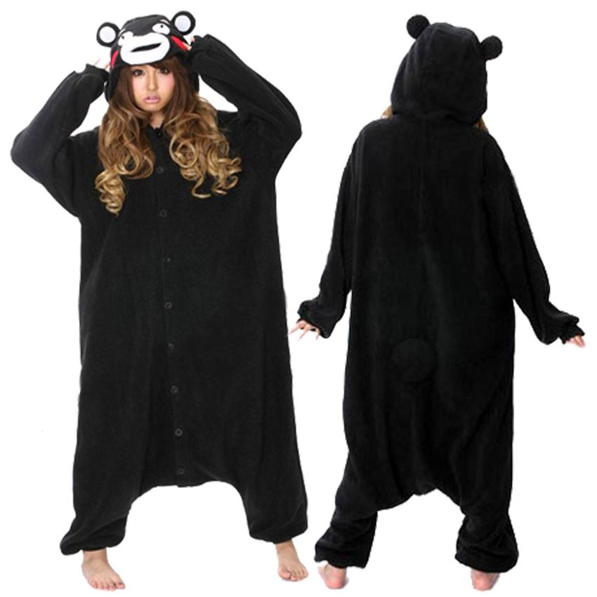 Adult Black Bear Kumamon Onesie Cosplay Costume Pajamas Sleepwear For Women Men girl
