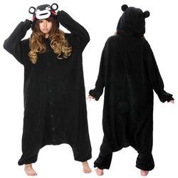 Kigurumi взрослых Черный Медведь Kumamon костюм для косплея киругуми пижамы для женщин мужчин