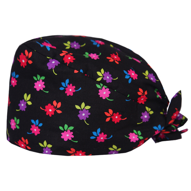 e4298deb5e3e20 Womens Floral Print Dentist Scrub Cap for Doctor and Nurse Operating Room  Healthcare Work Hat One Size Tie Back with Sweatband