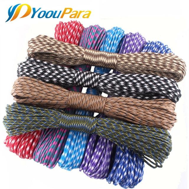 YoouPara Outdoor Survival Knife 50 Feet Paracord 550 Parachute Cord Rope 7 Core 100 Pcs/lot