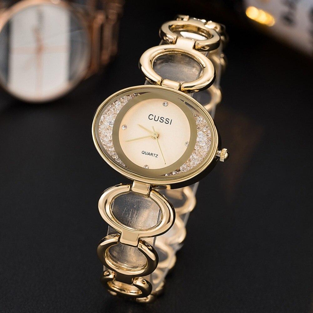 CUSSI 2019 Luxury Brand Women Watches Gold Oval Ladies Bracelet Watch Crystals Fashion Women Quartz Wristwatch Reloj Mujer Clock