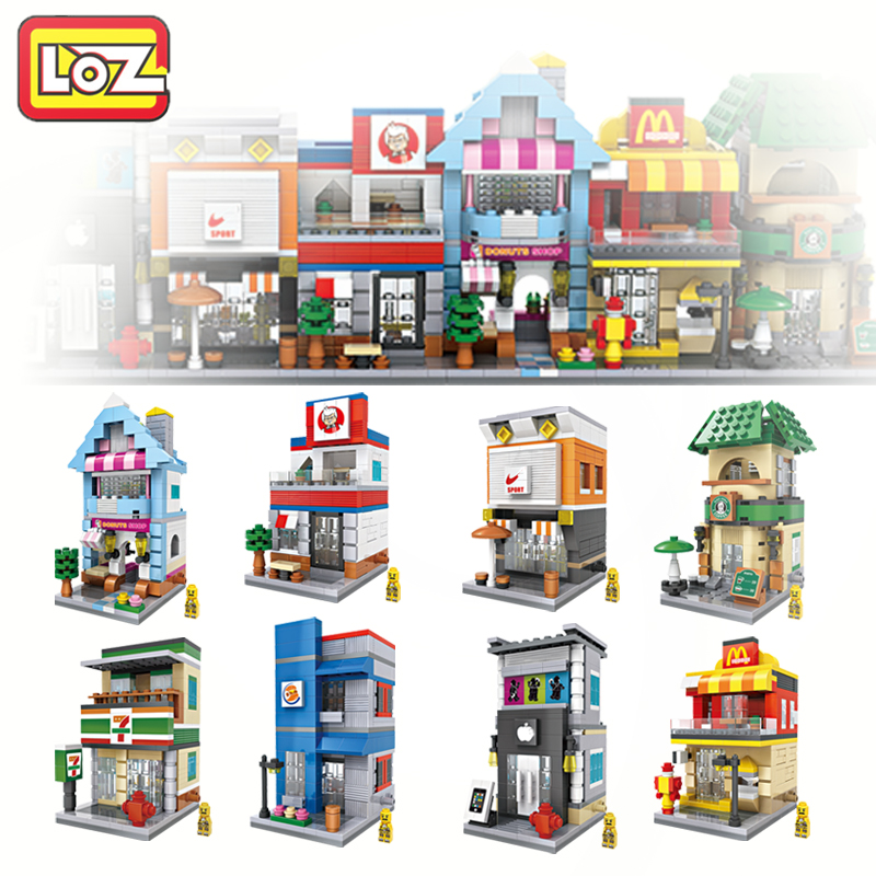 LOZ Mini Street Architecture Model Mini Blocks Caffe Store Fastfood Street Scene Children DIY Toy For Ages 6+ loz mini block architecture city view scene christmas toy for children mini street model store shop bridal assembly toys 1636