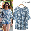 XXXL 4XL 5XL Plus Size Women Tops 2017 Summer Ethnic Style Fashion Floral Print O-neck Short Sleeve Loose Casual Cotton Tshirts