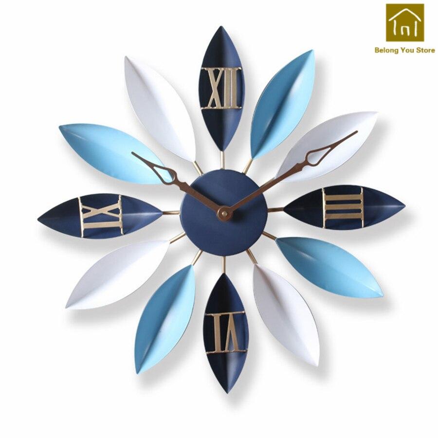 Creative métal horloge murale pendule Art artisanat montre murale circulaire salon décor métal moderne horloge outil décoratif WKP085