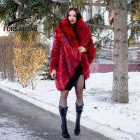 FURSARCAR Natrual Silver Fox Меховая куртка с отложным воротником Для женщин однотонное пальто с мехом пончо модная свободная накидка плюс Размеры роск