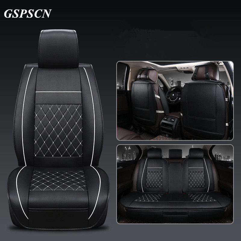 GSPSCN New Universal 5 Seat Car Luxury Genuine Leather 3D Car Seat Covers Front and Rear Surround Cushion Pad for Four Season brand new styling luxury ice silk car seat covers 1pc front complete set for universal seat car four season auto accessories