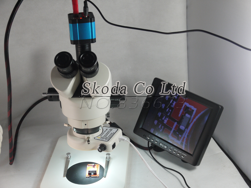 7~90X Trinocular stereo microscope+14MP HDMI Industrial Camera+56 LED light+8