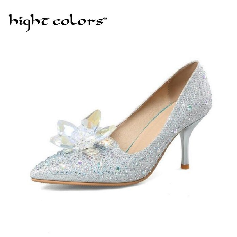 2018 New Glitter Rhinestone High Heels Women Pumps Pointed toe Woman Crystal Wedding Shoes Zapatos Mujer Sexy Elegant Lady Shoes 2017 new spring summer shoes for women high heeled wedding pointed toe fashion women s pumps ladies zapatos mujer high heels 9cm