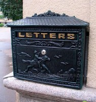 Cast Iron Mail Box Mailbox Antique Metal Wall Mount Postbox Post Letters Box