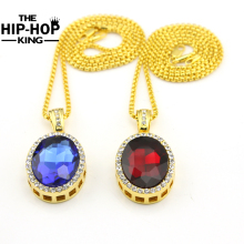 Mens Gold Color Iced Out Oval Clear Rhinestone Pendant Necklace Set Steampunk Unique Classic Hip Hop Jewelry for Rapper