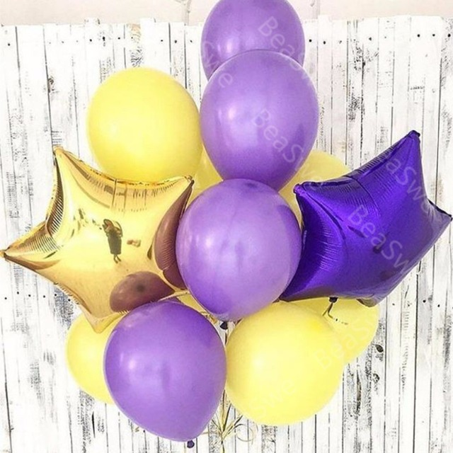 11pcs Lot 10 Inch Matt Purple Latex Helium Balloons Bunch With 18 Gold Star Wedding Baby Mermaid Birthday Party Decor