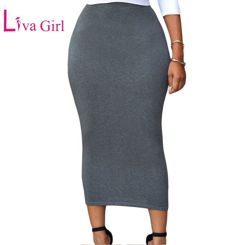 e12fc0336c5 Liva Girl 2017 Autumn Winter Black Grey Maxi Skirt Womens Sexy Bodycon  Skirts Pencil Long Wrap Skirt Longue Jupe taille haute