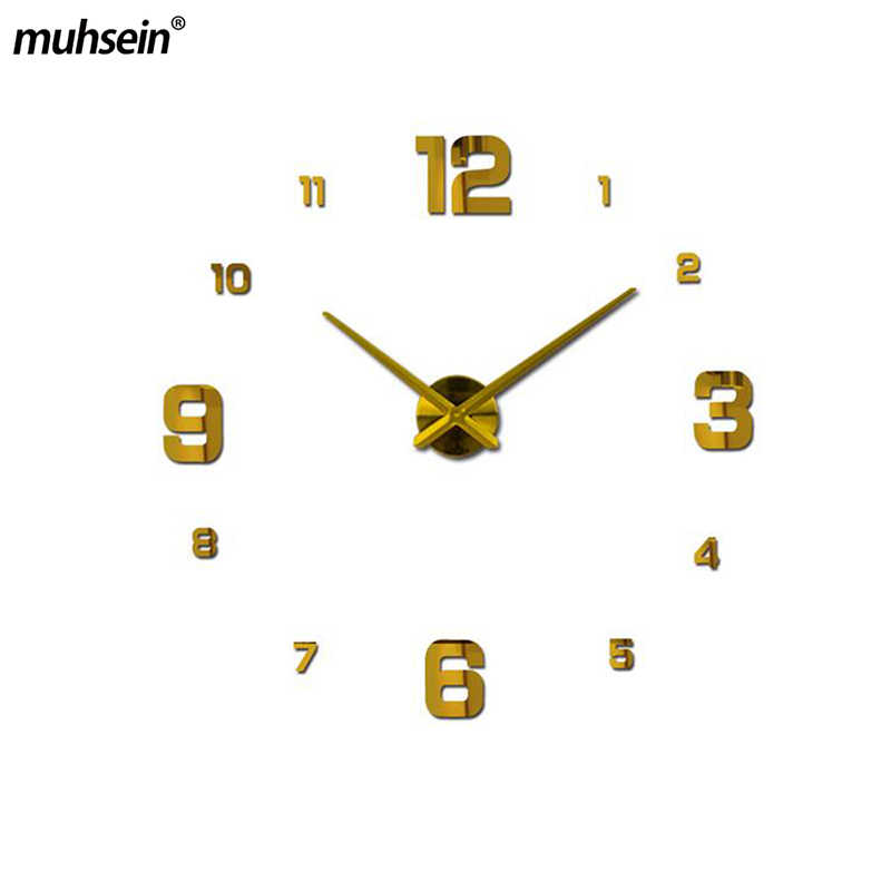 2020 muhsein גדול מודרני עיצוב קיר שעון 3d Diy אקריליק מראה מדבקות עיצוב הבית סלון קוורץ קיר שעון Horloge