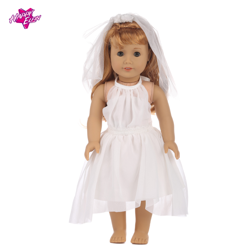American Girl Doll Clothes White Wedding Dress Doll Clothes for 43cm Baby Born Doll Best Gift