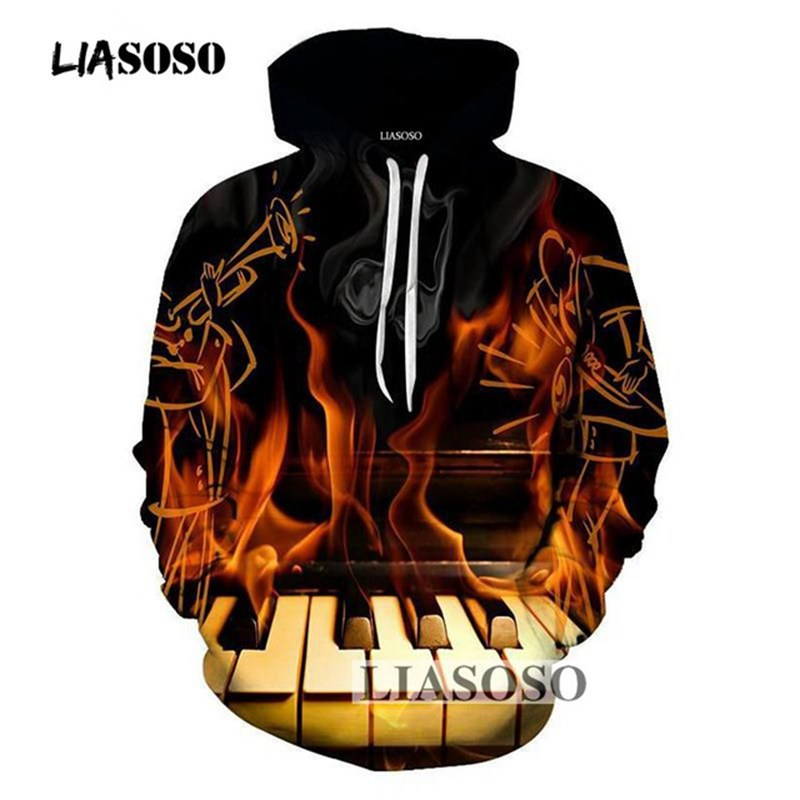 LIASOSO 3D Sweatshirts 2018 Fashion Winter Men Hoodies Black Burning Piano Printed Hooded Hoodie Casual Loose Pullover Clothes
