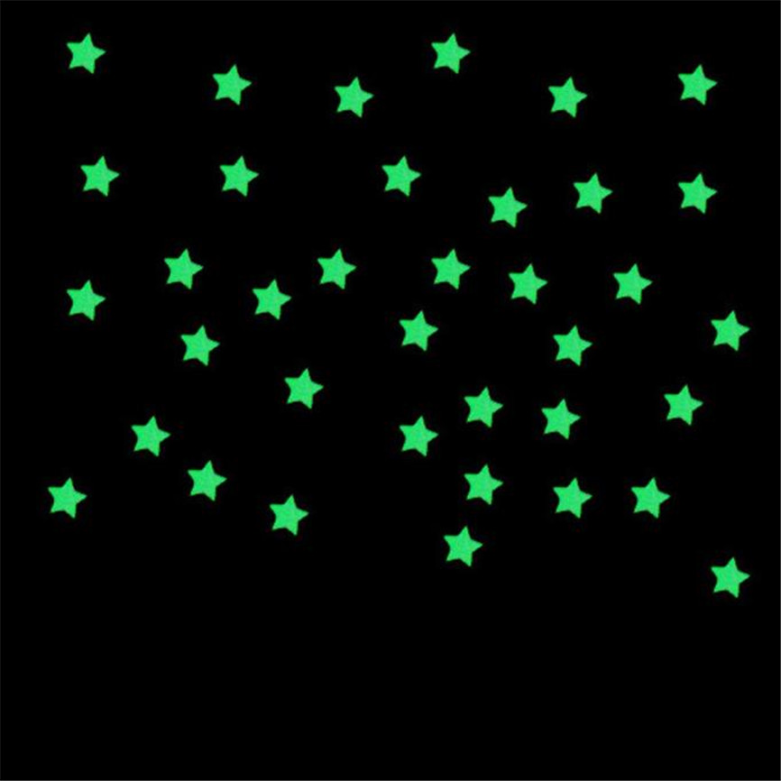 Wallpaper Sticker 100pcs Luminous Wall Stickers Glow In The Dark Stars Kids Fluorescent Home Wallpapers For Living Room B#