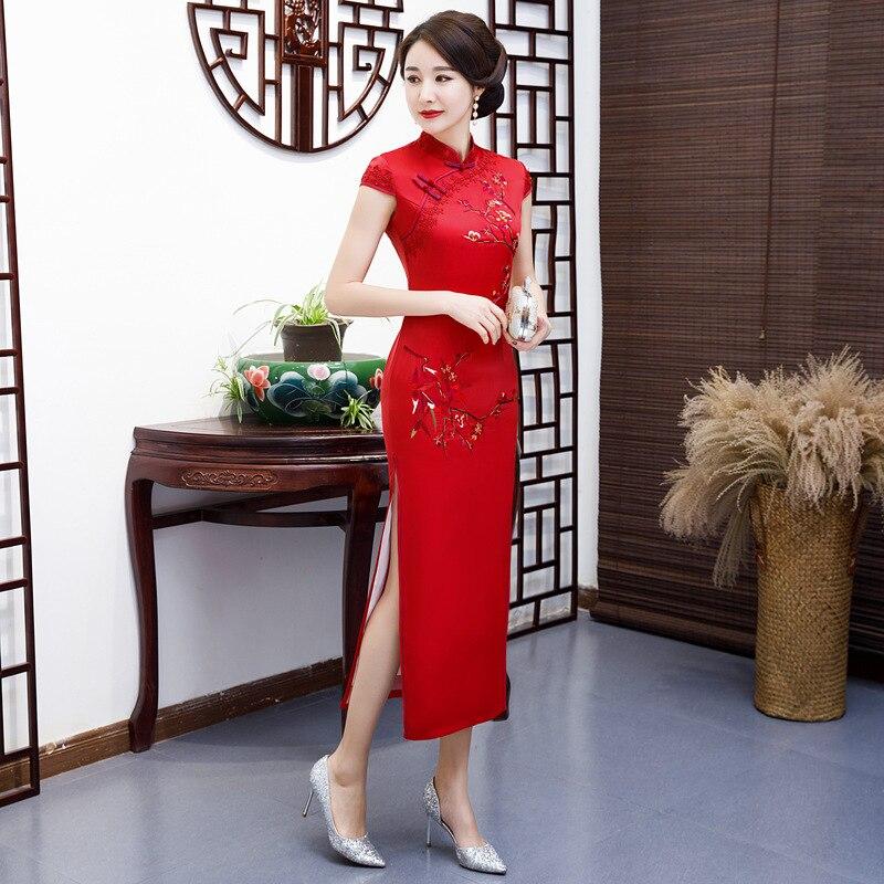 Estate Partito Rayon Mandarino Di Donne 5xl Qipao Vestito Cheongsam Rosso Vestiti Da Collare Del Vestido Delle Ricamo S Stile Modo Cinese Sottile Lungo UOq7U