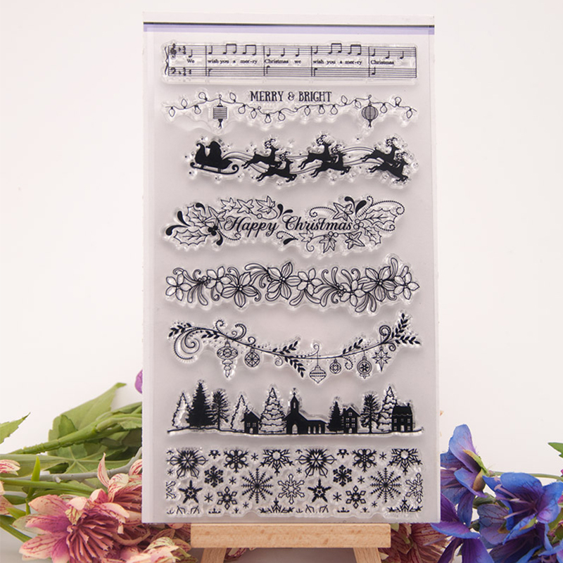 Happy Christmas Song Trees Decor Transparent Clear Stamps for Scrapbooking Silicone Photo Album Card DIY Embossing Making Sheets