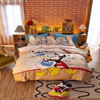 40s kid cartoon mickey and donald duck cotton bed set single twin full queen size flat and fitted sheet sanding comforter cover