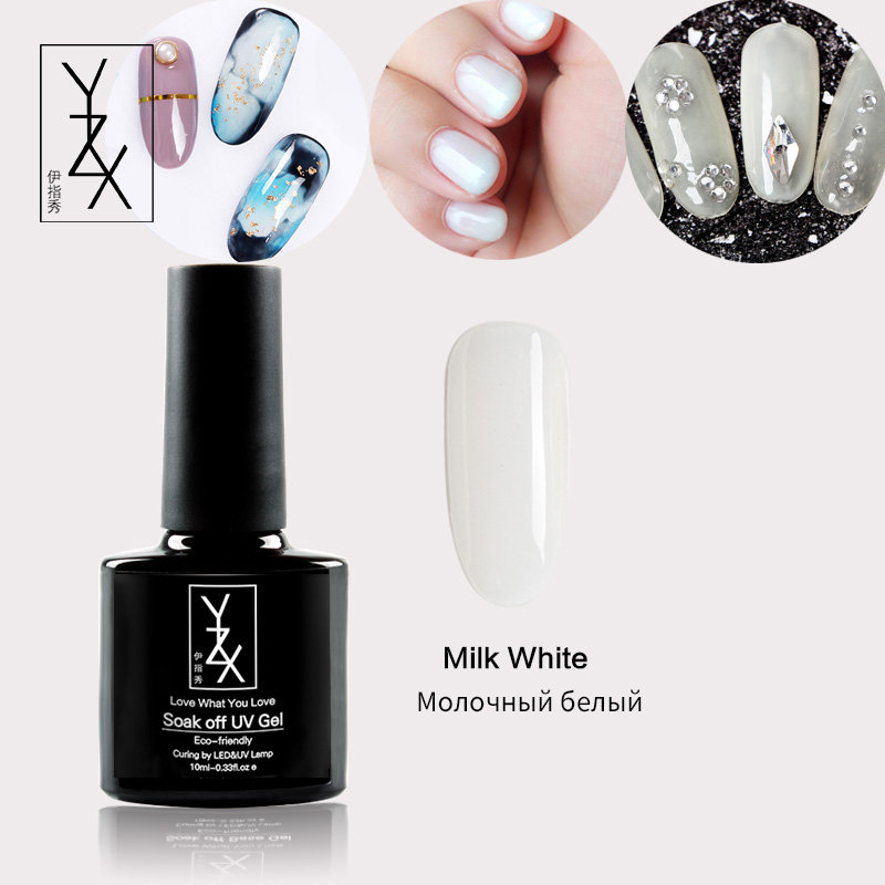 YiZhiXiu 1pcs 10ml Milk Transparent Carved Enamel Soak Off  UV Gel Pure Nail Polish Creativity Varnish Lacquer Manicure Hot Sale