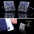 High Quality Black / Blue Stainless Steel Square Stamping Vintage Cuff Links Wedding Mens Custom Enamel Cufflinks VCC14 P20