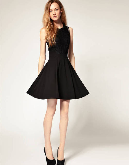 Hepburn classic little black dress classic atmosphere stitching ...