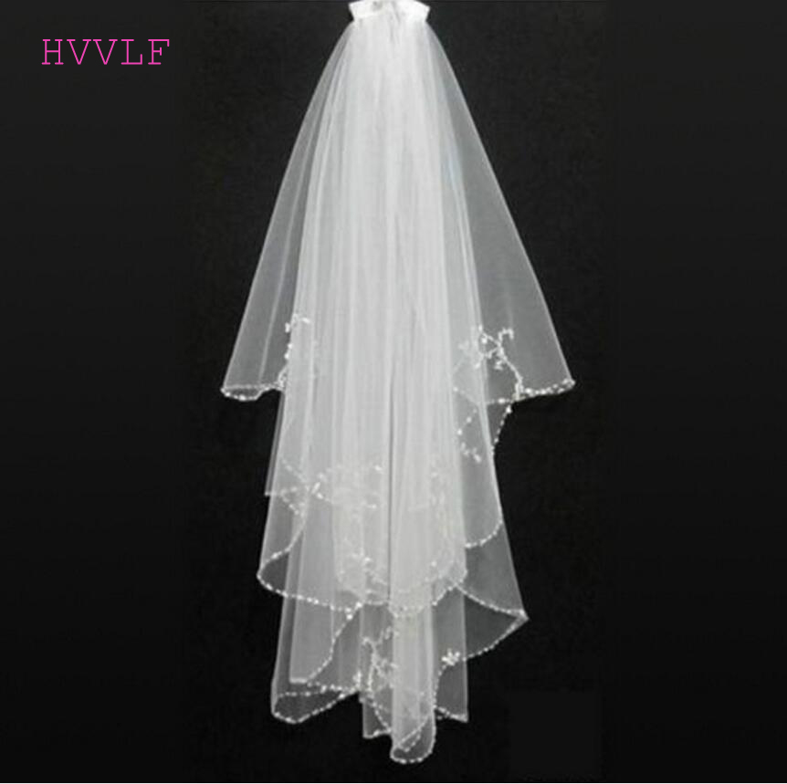 Cheap Wedding Veil With Beaded Pearls Soft Tulle Bride Bridal Veil White Ivory Wedding Accessories