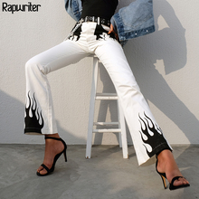 Rapwriter Casual Panelled Flame Print High Waist Long Flare