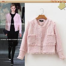 French Elegant Pink Cute Tweed Slim Jacket Women Fashion 2016 Tassel Plaid Basic Coat OL Ladies Formal Elegant Short Jacket S XL