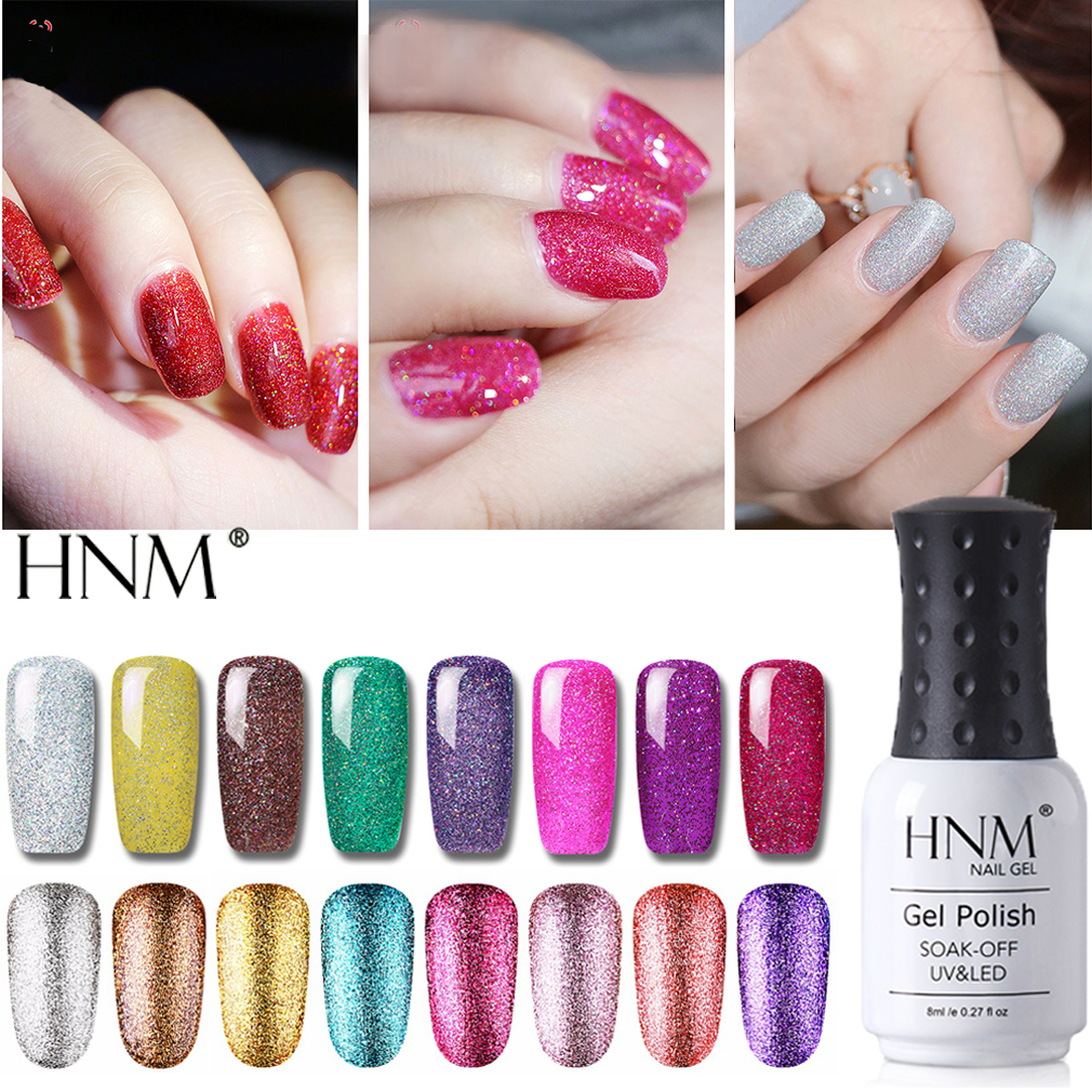 HNM 8ML Bling Neon Glitter Platinum UV Gel Nail Polish Shiny LED Lucky Long Lasting Lacquer Varnish Manicure Art Base Top Color