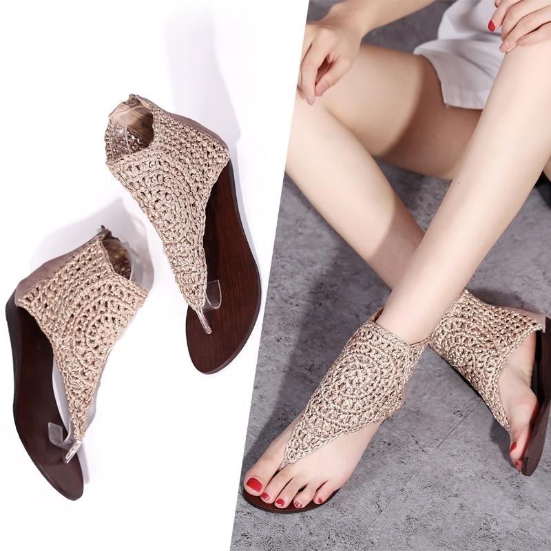 2020 New Women Sandals Fashion Flip Flops Shoes Roman Sandals Women Flat Shoes Summer Beach Ladies Real Leather Shoes Sandals 43