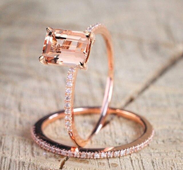 Bamos Female Square Ring Set Luxury 18kt Rose Gold Filled Vintage Wedding Band Promise Engagement