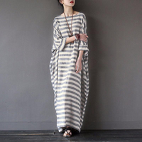 Women Elegant Striped Print Dress 2017 Autumn Casual Loose O Neck Batwing Sleeve Maxi Long Dresses