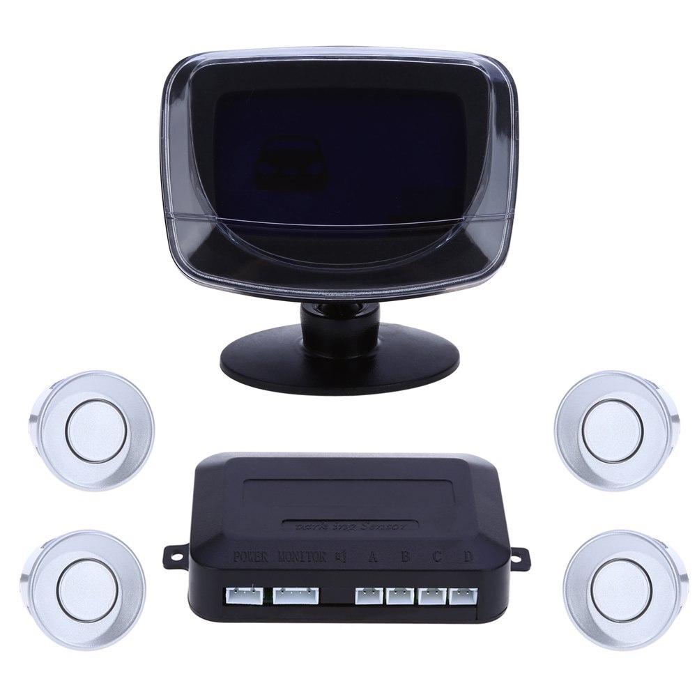 imágenes para 4 Sensor de Aparcamiento Automático Sistema Detector de Marcha Atrás con Monitor de PANTALLA Step-up de Alarma Diseño Humanidad Inglés Voz Notificación