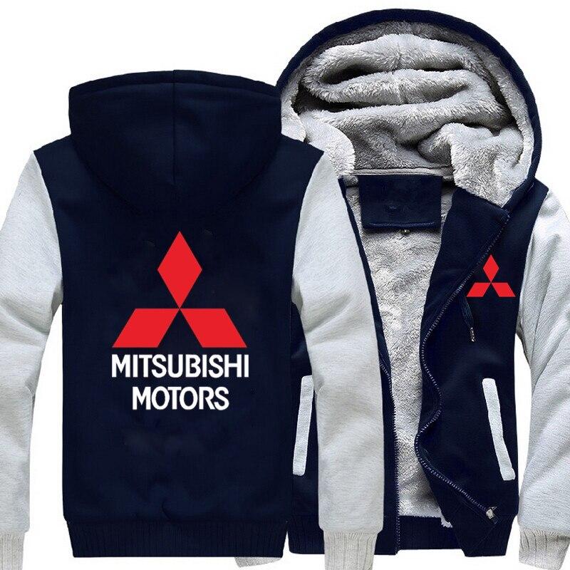 Heiße Neue Winter Mantel Auto Mitsubishi Logo Verdicken Warm Sweatshirts männer Baumwolle Mantel Lässig Fleece Sweatshirts Männer Mens Hoodies