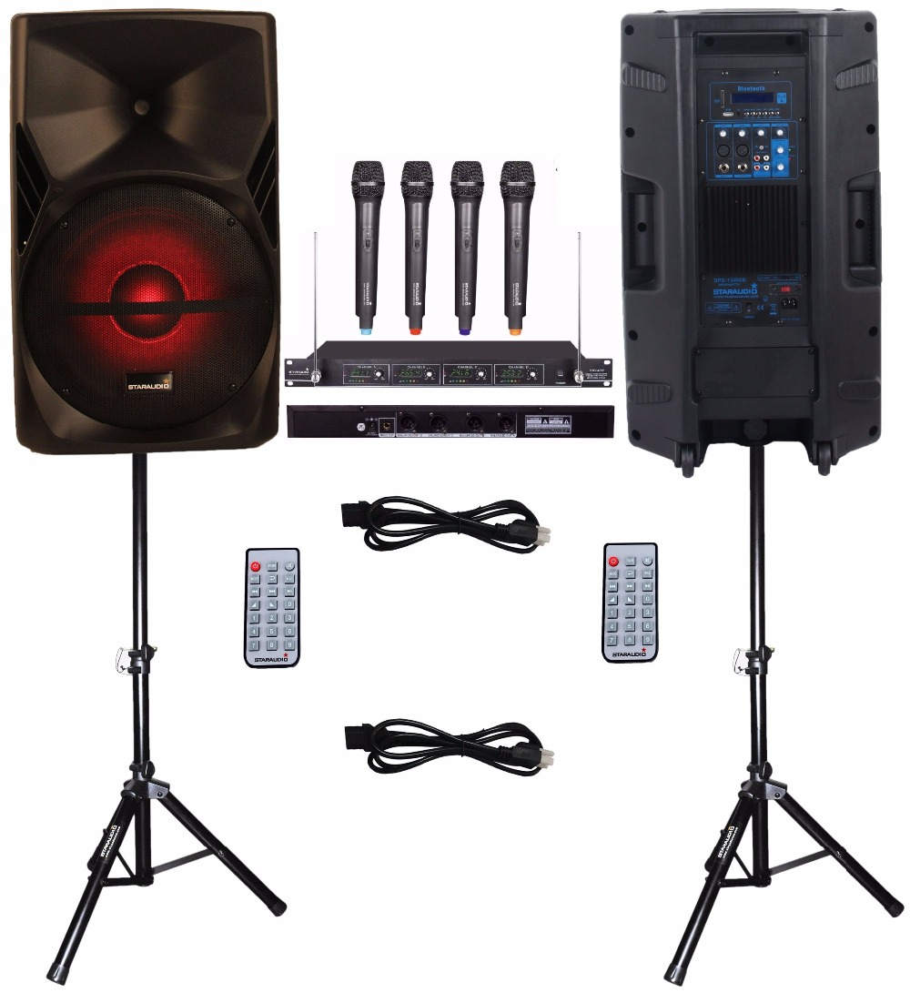 STARAUDIO 2Pcs 15 3500W PA DJ Stage Karaoke Powered Active SD USB BT Speakers W/ Light Stands 4CH VHF Handheld Mics SPS-15RGB