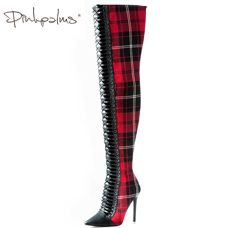23fa0dc63 Pink Palms Women Autumn Winter Shoes Red Cloth Over the Knee High Heels  Boots England Plaid