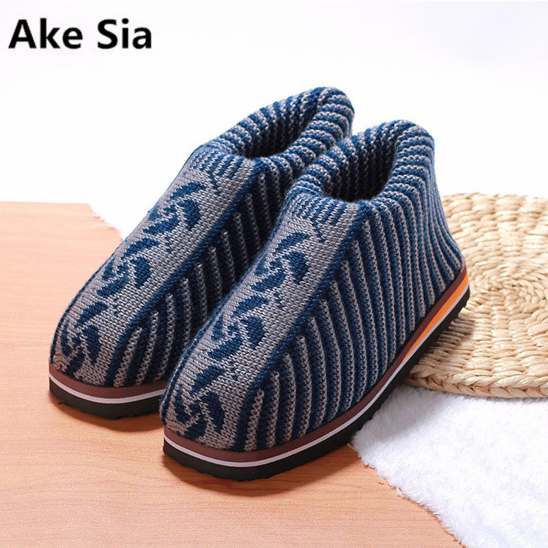 Ake Sia mens snow boots winter indoor slipper shoes Non-slip handmade cotton shoes father shoes keep warm comfortable for old