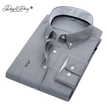 DAVYDAISY New Men Shirt High Quality Long Sleeved Oxford Designer Solid Male