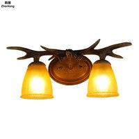 Винтаж E14 светодиодные лампы голова оленя Настенные светильники для чтения Спальня прикроватной тумбочке росписи Освещение коридор лампа