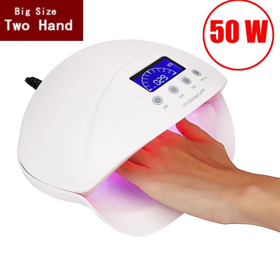 New Nail Machine Professional Nail Dryer Makeup 50W LCD Display Dual UV LED Nail Lamp Nail Dryer With Bottom Timer Wholesale 2014 new free shipping dual display hk 809 with waistbelts machine for pedicure