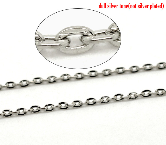 DoreenBeads dull silver color Links-Opened Cable Chains Findings 3mm x 2mm, 10 meters doreenbeads rubber earring components post stopper cylinder transparent 3mm 1 8 x 3mm 1 8 150 pcs