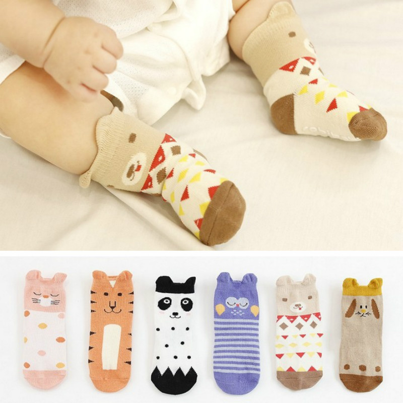1pair Cartoon Baby Kids Non Slip Socks Infant Newborn Soft Short Socks Random