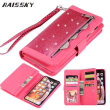 Zipper Glitter Leather Case For iPhone SE 2020 6 6s 7 8 Plus Wallet Phone Case For iPhone 12 11 Pro Max X XR XS Max Flip Case