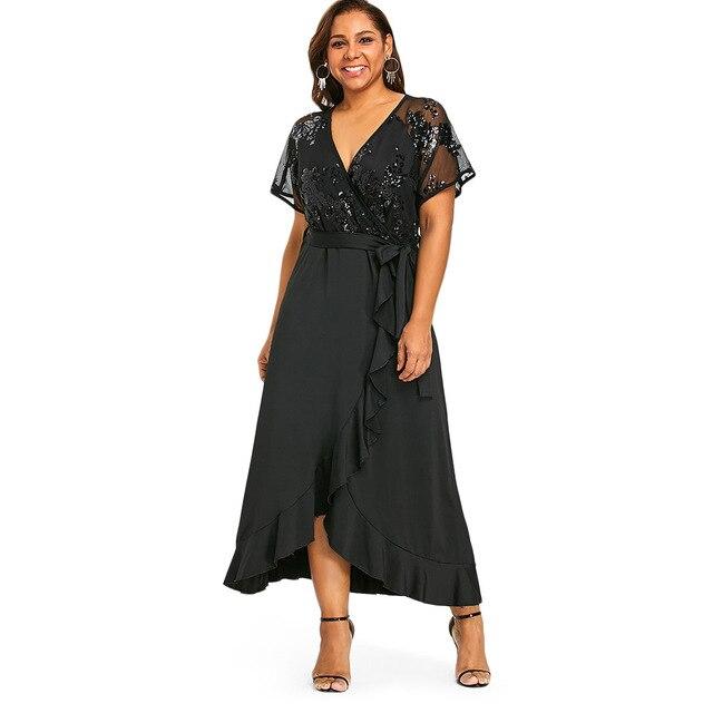Gamiss Plus Size Sequins Belted Maxi Dress 2018 Women Summer Dresses Short  Sleeve V-Neck Elegant High Waist Party Dress 5XL 2281fe23eee2