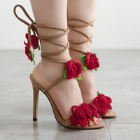 2019 new personality fashion sandals female red rose flower cross strap stiletto heels large size women's shoes