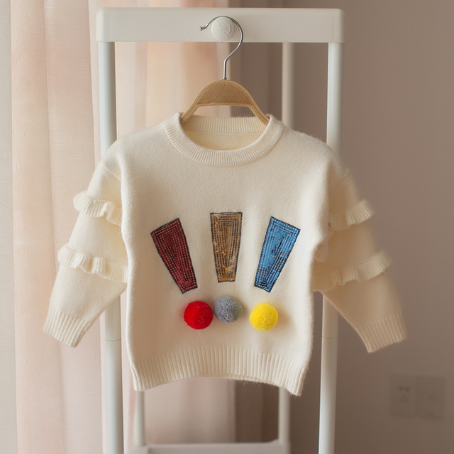d6117a4d7 Hot 2018 Spring and Autumn Children s Baby Long Sleeve Sweater Girls ...