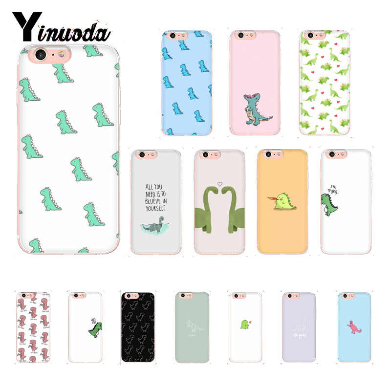 Yinuoda cute Little Dinosaur Pattern TPU Soft Phone Case for iPhone 8 7 6 6S Plus X XS MAX 5 5S SE XR 10 Cover