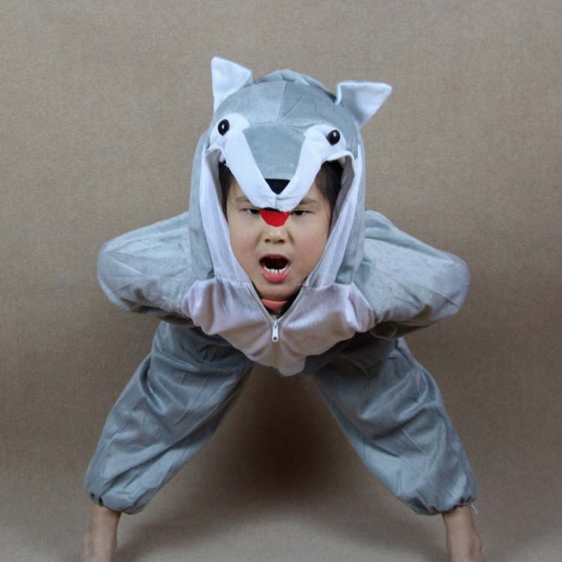 Boys Girls Animals wolf Jumpsuit Children's Day Cartoon Kids Animal Cosplay Costumes Performance Clothing