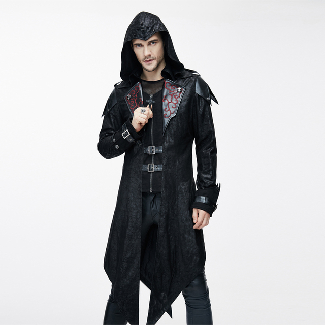 Sorcerer Hooded Cloak Coat Men Jacket Long Trench Unisex Look Halloween Costume Male Stage Prom Party Business Costume